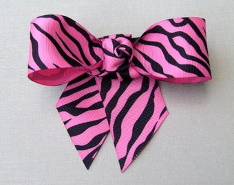 Pink and Black Zebra hair clip bow