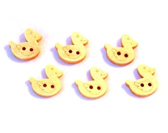 5 buttons shaped wood ducks - 17 mm - 2 holes - light wood