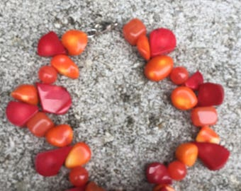 Red and Orange Beaded Bracelet