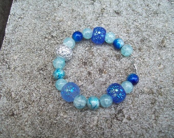 Blue Beaded Bracelet Gift for Her Blue Jewelry One of a Kind