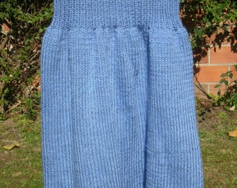 Light blue knit skirt, vintage style, elastic waist