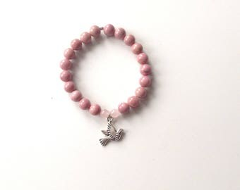 rhodonite, rose quartz and silver beads bracelet yoga