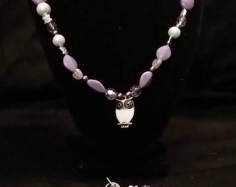 Purple Owl Jewelry Set