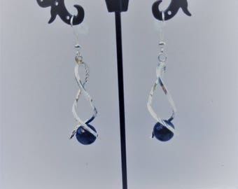 Lapis lazuli twisted earrings