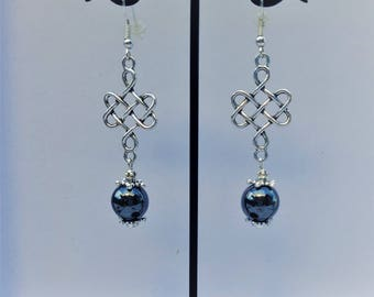 Genuine Hematite and Celtic knot earrings