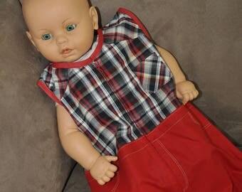 Summer boy sleeveless Plaid Shirt and red fabric
