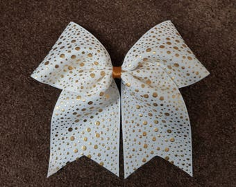 White and Gold Spotty 3 Inch Ribbon Cheer Bow