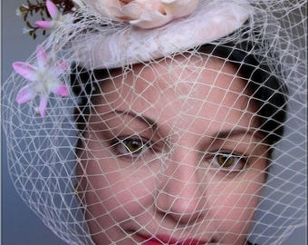 Fascinator / Hat-pink/Beige-Chic-Retro - lace, flowers, Veil - wedding, ceremony...