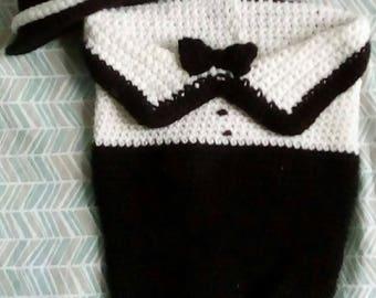 Newborn Tuxedo Cocoon with Top Hat