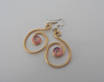 Earrings creole spiral, contemplative cabochon.