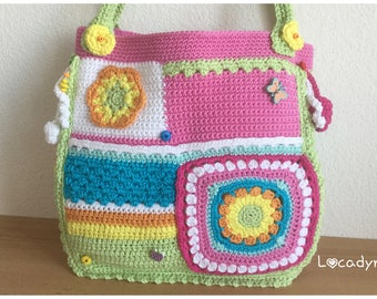 Summer bag in Fun colors trend woman young girl-birthday gift party cotton multicolor Mandala-bag Hippie Bohemian flowers and beads