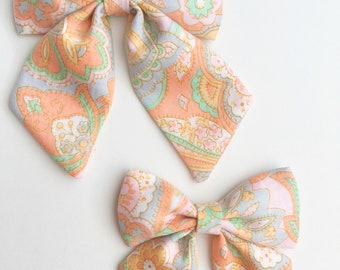 Sailor Bow, mini sailor bow, vintage hair bow, pastel hair bow, paisley hair bow, spring hair bow, Easter hair bow, baby bow headband