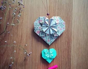 Origami green and pink - Valentine heart card-suspension