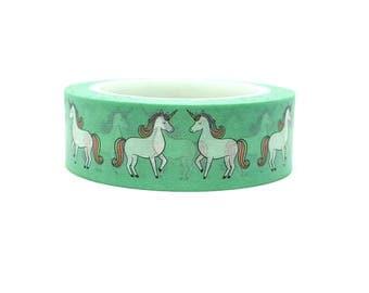 Masking tape Unicorn - repositionable adhesive roller background green with unicorns