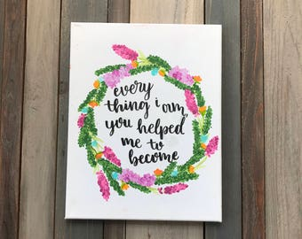 CUSTOM flower wreath with quote