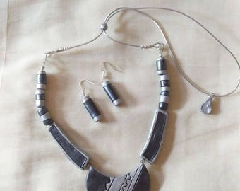 Metallic gray and silver necklace with matching earrings-Indian jewelry-terracotta jewelry-polymer clay jewelr