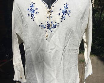 90s XL hippie blouse tunic peasant shirt, blue embroidery, string ties, flared cuffs, no tags