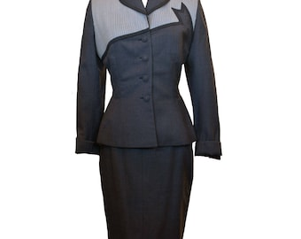 1940's Lilli Ann wool color blocked skirt suit