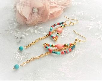 Kit creation loop earrings, Pearl turquoise, coral bead, seed bead