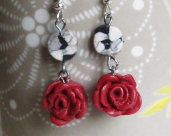 Earrings dangling pink realistic red rose jewelry, romantic, Gothic steampunk romantic, garden plant.