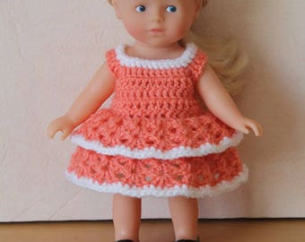 Coral crochet doll dress mini corolline