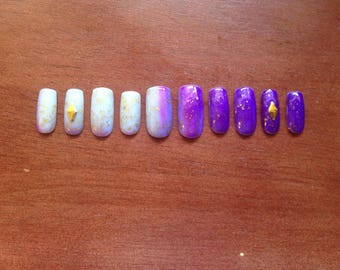 Purple with Gold Flecks Color Changing Gel Press-On Nails