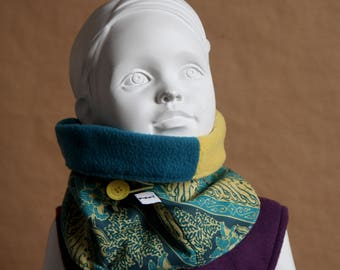 Snood with button - cowl scarf, yellow and teal fleece and cotton Indonesian