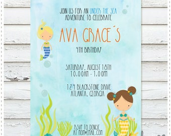 Mermaids Birthday Invitation