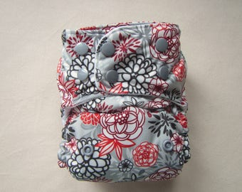 Winter Flowers, One Size Diaper, Pocket Diaper,Cloth Diaper Cover,Cloth Diapers, Cloth nappies,Cloth Diaper Pattern,Silver diaper, Holiday