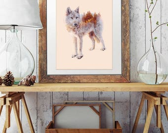 Wolf Print wall art- wolf art, double exposure, digital art print, nature, wolf poster