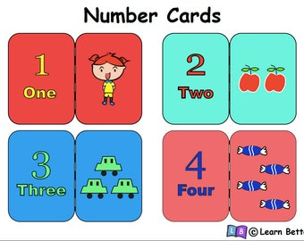 Number Cards for children learning the concepts of numbers and counting
