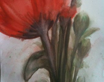 painting with watercolors of poppies (original)