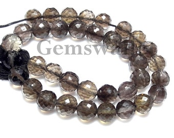 Smoky Quartz Faceted Ball Beads, 7x7 mm,Inch 10, Smoky Quartz Designer Beads, 101 Cts, Smoky Quartz Loose Gemstone.
