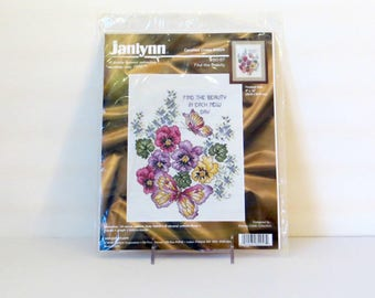 "Janlynn Counted Cross Stitch Kit ""Find the Beauty"" Flowers Butterflies Pink Purple Yellow Floral Bouquet Janlynn Kit #80-57"