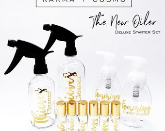 The Essential Oil Deluxe Starter Set | SIX 10ml Essential Oil Roller Bottles + 8oz & 16oz spray bottles + 2 foaming soap bottles