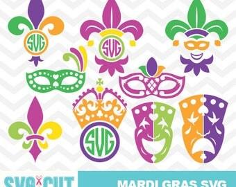 Mardi Gras SVG files, Mardi Gras Monogram, Mardi Gras Clipart, Mardi Gras Vector, Mardi Gras Cut Design, Fleur de Lis SVG, Carnival, svg-013