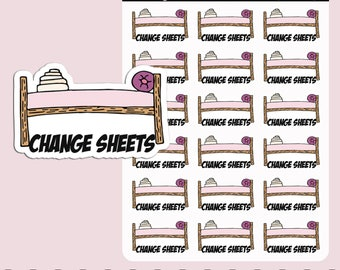 CHANGE SHEETS | Planner Stickers | Reminder | Bed Linen | Blanket | House Chores | Erin Condren | S202