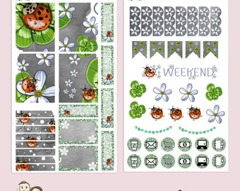 TN MINI Kit | Planner Stickers | Ladybug | Hand Illustrated | Floral | Clover | Spring | Ladybird | Banners | Erin Condren | TN14