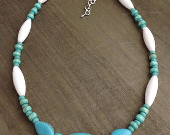 Round Turquoise Stone Beaded Necklace