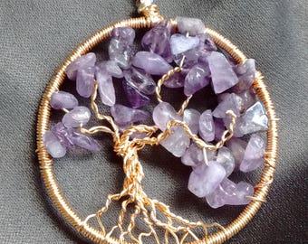Purple Amethyst Tree Necklace, family tree, tree of life, gemstone, gem stone, semiprecious , semi precious, February birthstone, wire, gold