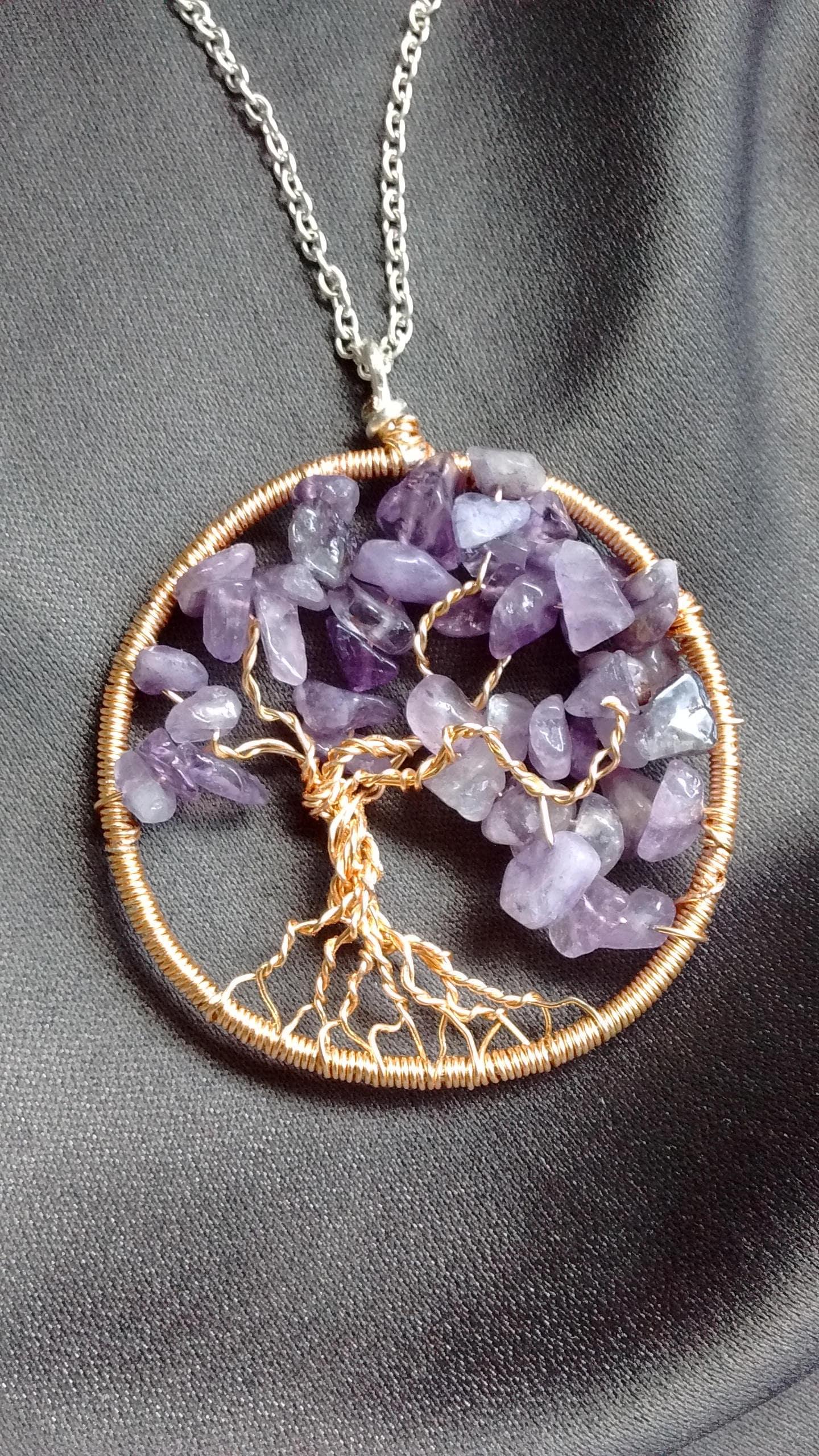 Purple Amethyst Tree Necklace, family tree, tree of life, gemstone ...