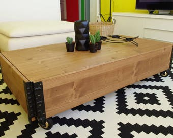 Coffee table Vintage Industrial living room solid wood