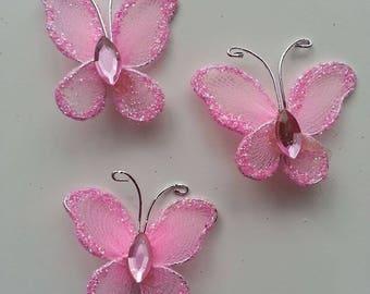 lot de 3 minis papillons rose  25*25mm