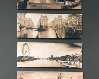 4 Piece Wooden Block Mounts with Canvas finish, London Photography