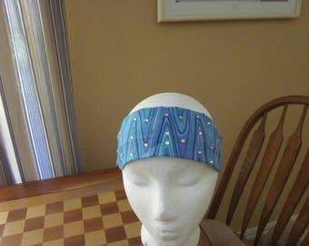 Blue Wave Print Headband with Rhinestones