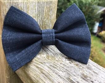 Dark Grey/Dark Navy Blue, dog or cat bow tie