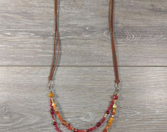 Red Glass Bead and Suede Necklace
