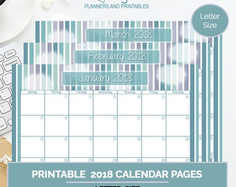 Breezy Calendar Pack, printable 2018 calendar pages, organizational tool, goal setting planner, scheduling tool, goals,  letter size planner