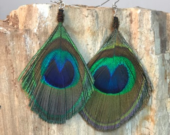Sculpted Peacock Feather Earrings