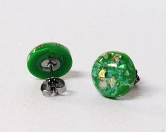 Emerald Green with Gold Foil & Opal Sphere Earring - Shimmer - Jewel tone - stainless steel - stocking stuffer - small gift - Emerald green